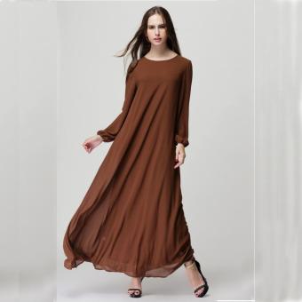 2016 Summer New Fashion Women Long Sleeve Casual Loose All-match Muslim Dress Coffee - intl