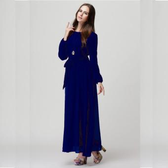 2016 Summer New Fashion Women Long Sleeve Casual Loose all-match Muslim Dress Dark Blue - intl