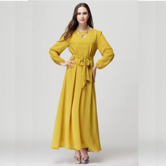 2016 Summer New Fashion Women Long Sleeve Casual Loose all-match Muslim Dress (Yellow) - intl
