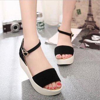 2016 summer women sandals women platform flat sandals rubber sole women's wedges sandals(Black)