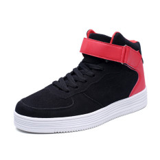 2016 Winter New Massage Shoes Men Lace Up High Top Boots Casual Shoes Man Flat Shoes (Red)