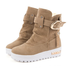 2016 Winter Suede Shoes Increase Shoes Fashion Shoes Boots Women (Yellow) - Intl