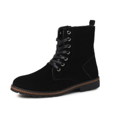 2016 Winter warm Retro Add Suede Boots suede leather casual boots men (Black) - intl