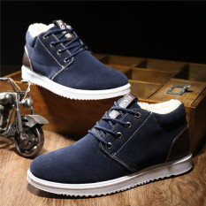 2016 Winter warm Suede casual shoes suede leather ankle boots men(Blue) - intl