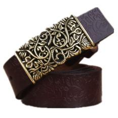 2017 Genuine Cowskin Leather Belts For Women Carved Design Retro Metal Women Strap Cintos Ceinture Female High Quality Belts (Coffee) 105cm - Intl