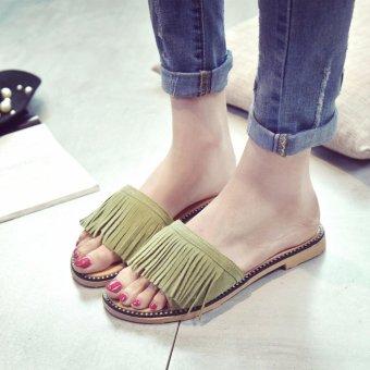 83df0096920 Harga 2017 Korean Flat Shoes Female Summer Sandals Fashion Tassel ...