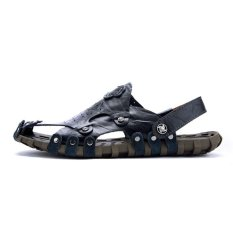 2017 Men's Leather Sandals New Sandals Male Summer Sandals Exposed Toe Men's Casual Beach Shoes - Intl