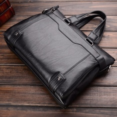 2017 New Fashion Genuine Leather Men Bag Famous Brand Shoulder Bag Messenger Bags Causal Handbag Laptop Briefcase Male-black - intl