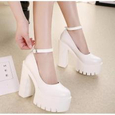 2017 new spring autumn casual high-heeled shoes sexy ruslana korshunova thick heels platform pumps Black White - intl