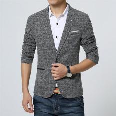2017 New Spring Men's Casual Blazer Men's Linen Cotton Slim Fit Men's Suit Jacket Men's Classic Blazer (Grey) - Intl
