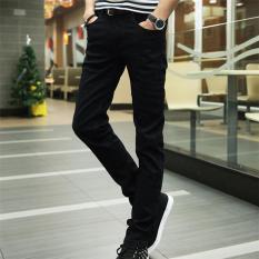 2017 Spring New Korean City Boy Skinny Jeans Men Classic Casual Slim Black Pencil Pants 28 (Black) - Intl