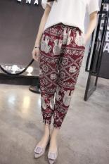 2017 Summer Elastic Waist Floral Print Bohemia Style Travel Casual Long Pants Chiffon Trousers (Red Elephant) - Intl