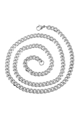 2mm Stainless Steel Cuban Curb Link Chain Necklace Silver Tone 52cm