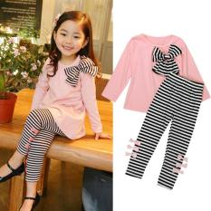 2Pcs Kids Baby Girls Clothing Long Sleeve Bowknot Dress T-Shirt+Stripe Pants Set Pink - intl