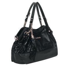 360DSC Fashionable Women Snake Skin Pattern PU Leather Tote Handbag Shoulder Bag - Black - Intl