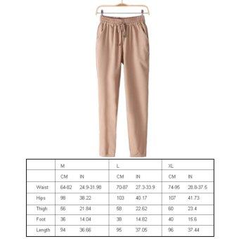 360DSC Ninth Ankle Length Women Casual Comfortable Elastic Waist Haroun Pants - Beige M - intl