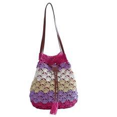 360DSC Women Hook Tassel Bucket Bag Ladies Straw Plaiting Bag Handbag - Red Stripe - Intl