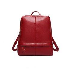 360WISH Fashion Korean Preppy Style Women's Leather Backpack Shoulder Bag Handbag - Wine Red