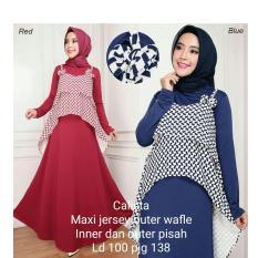 369 Setelan Long Maxi Dress Jersey Calista dan Outer Wafle - Merah