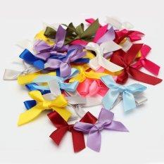 50 Pcs Silk Satin Ribbon Bows Ribbons Appliques Scrapbooking Craft DIY Gift 4 X 3 Cm Mixture Colour