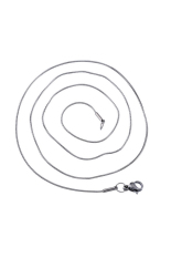 1mm Stainless Steel Round Snake Chain Necklace Silver Tone 52cm