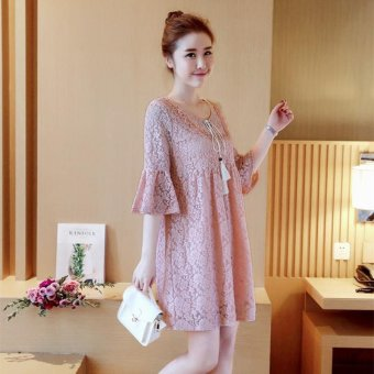 6b9b7a5ac4 9017  Ruffle Half Sleeve Ties Waist Lace Maternity Dress Summer Fashion  Clothes for Pregnant Women