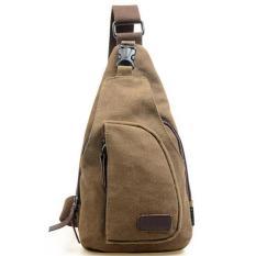 AceWin 643752 Tas Sandang Kanvas Messenger Bag Pria - Coklat