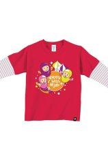 AFRAKIDS AF136 Kaos Anak Muslim - Happy With Hijab Merah Fanta