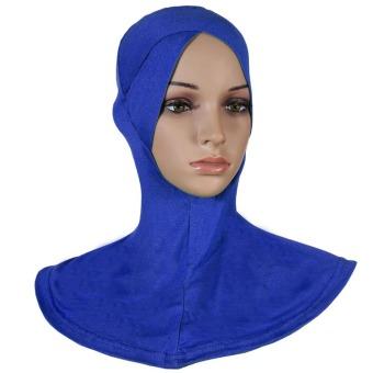 Agapeon Muslim Inner Hijab Cap Inner Neck Cotton Single Cross Head Blue