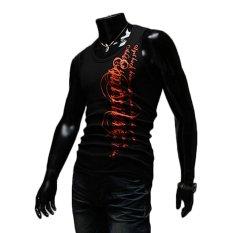 AJFASHION Mens Round-neck Skull Printing Sleeveless T-shirts (Black)