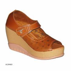 Aldhino Sepatu Sandal Wedges Wanita MGS-01 Tan