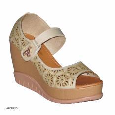 Aldhino Sepatu Sandal Wedges Wanita MGS-03 - Crem
