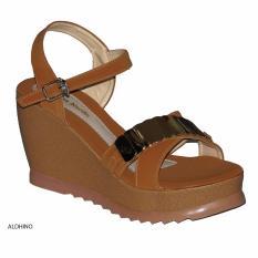 Aldhino Sepatu Sandal Wedges Wanita PN-17 - Tan