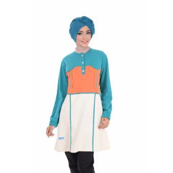 Alnita Blouse Atasan AA-05 Kaos Wanita Baju Muslim Tunik Kemeja Kaos Hijau Tosca