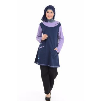 Alnita Blouse Atasan AA-06 Kaos Wanita Baju Muslim Tunik Kemeja Kaos Biru Donker