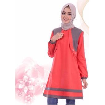 Alnita Blouse Atasan AA-13 Kaos Wanita Baju Muslim Tunik Kemeja Kaos Merah Cabe