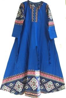 Am Collection Pakaian Wanita Gamis Etnik Biru Langit
