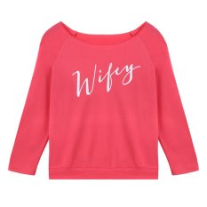 Amango Women Wify Letters Printed T-Shirt Slim Tops Long Sleeve Pullover Pink