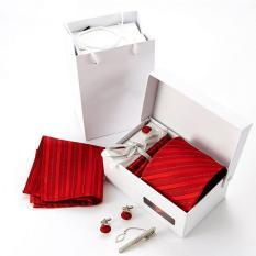 Amart 6 Pcs / Set Men Ties Jacquard Woven Ties Necktie Set Cufflink Hanky Business Wedding Holiday Gifts ϼ