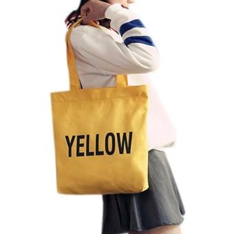 Amart Fashion tas wanita sederhana tas bahu untuk sekolah kanvas bercetak huruf tas belanja kapasitas besar