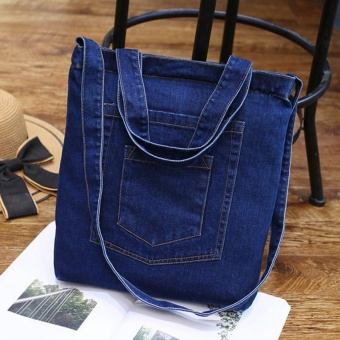 Amart Korean Fashion Women Denim Shoulder Bag Zipped Handbag Casual Vintage Jeans Crossbody Messenger Bags - intl
