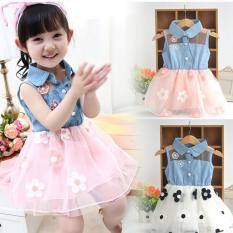 Amart Lucu Sun Flower Princess Denim Atas Gaun Berbentuk Tutu Bayi untuk wanita Pakaian Balita