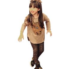 Amart Set Pakaian Anak Cewek Pakaian Lengan Panjang Kaus Kaki Macan Tutul