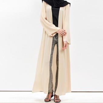 Amart Women Muslim Cardigan Turkish Dubai Clothing Long Coat Outwear Tops(Beige) - intl