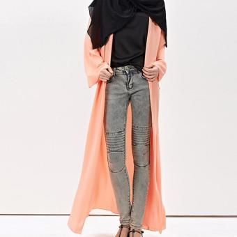 Amart Women Muslim Cardigan Turkish Dubai Clothing Long Coat Outwear Tops(Pink) - intl