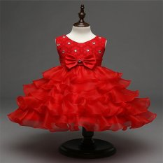 Anak-anak Gadis Pesta Pernikahan Putri Gaun Ball Formal Flower Sequin Diamond Layer Tutu Dress(Red) - intl