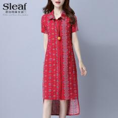 Angin nasional perempuan lengan pendek baru bagian panjang kemeja rok gaun (Garis merah)