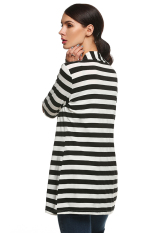 SuperCart ANGVNS Women Ladies Front Open Long Sleeve Striped Loose Casual Outwear Cotton Coat (Black) (Intl)
