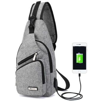 Anti Thief Unisex Chest Pack USB Charge Small Shoulder Bag Crossbody Bag Sling Bag Travel Outdoor Hiking Portable Bag - intl