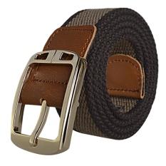 AOXINDA New Fashion Women & Men's Canvas Golden Buckle Causual Belt 110cm - Brown Dark Khaki - Intl